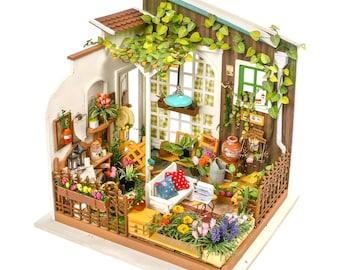 1: 24 Miniature Dollhouse DIY Kit Miller's Garden with Light Handcraft Project Sweet Home Flowers Model Gift Home Decor Scene Robotime
