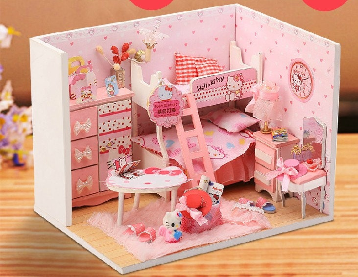 1 24 Miniature Dollhouse Diy Kit Kitty Princess Bedroom With Light Cute Room House Craft Project