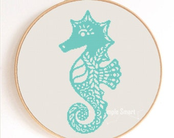 Ornament Seahorse Silhouette Counted Cross Stitch Pattern Instant Download