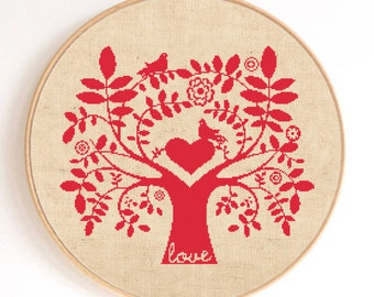 Ornament Love Tree with Birds Silhouette Counted Cross Stitch Pattern Instant Download