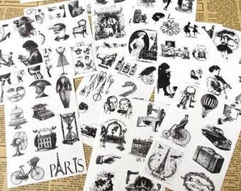 Retro Style Vintage Victorian Transparent Stamp Sticker Set 121 Pcs Envelope seals Deco  Scrapbooking Embellishments
