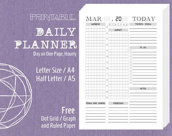 Printable Daily Planner Schedule Agenda 24 Hours Filofax Kikki K Inserts Letter Size A4 Half Letter A5 Planner Refills