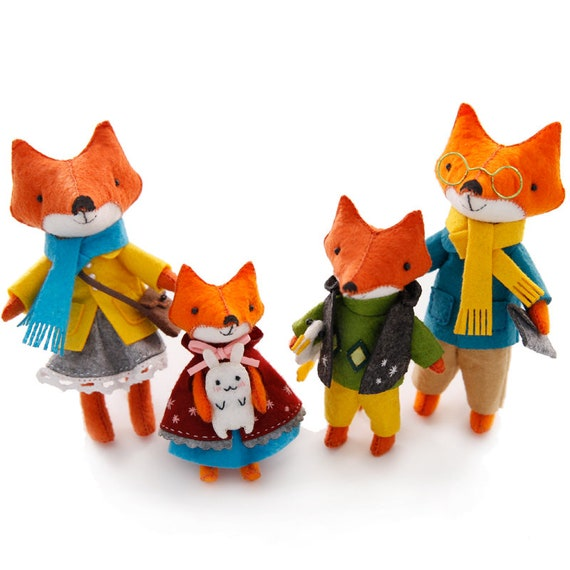 diy felt craft kit fox family craft in a box sewing handmade etsy
