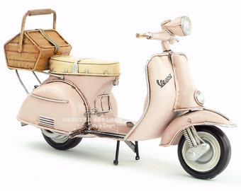 1/8 Retro Style Miniature Baby Pink 1955 Vespa Motorcycle with Rear Basket  Hand Made Toy for Blythe  BJD Doll Prop Decor Gift for Girl