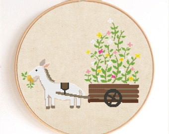 Cute Horse with Flower Cart Counted Cross Stitch Pattern Instant Download