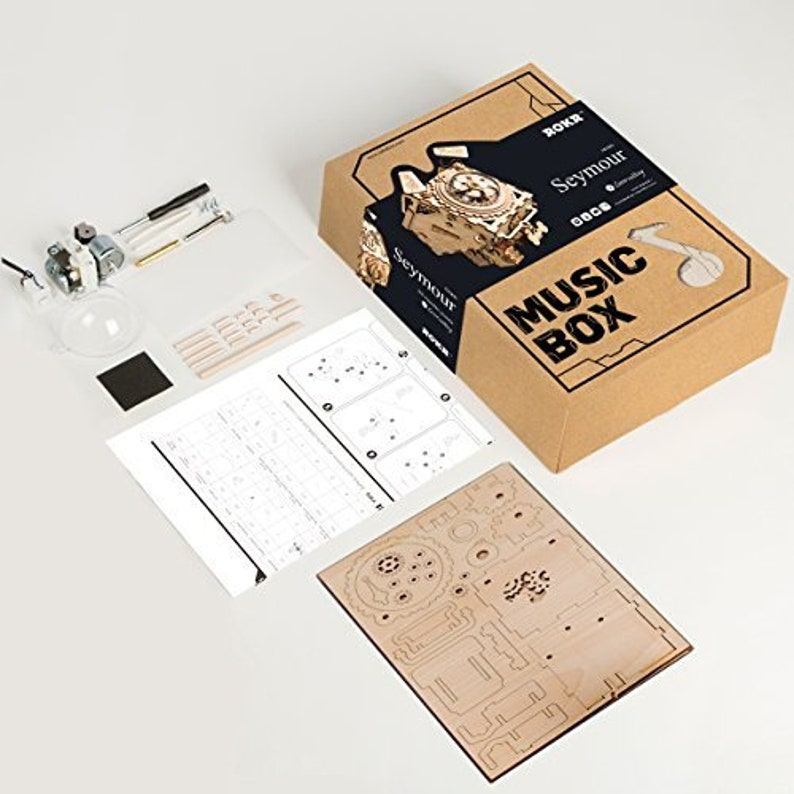 Laser Cut 3D Wooden Puzzle Hand Crank Music Box DIY Kit Robot Seymour Steampunk Style Gift Home Decor Craft Project Toy Model Robotime