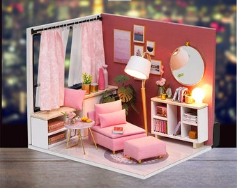 1: 24 DIY Miniature Dollhouse Kit Scene Scenery Happy Time Girl Room Box Pink House with Light and Music Box Adult Craft Gift Decor