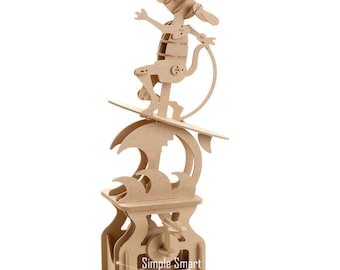 3D Wooden Puzzle Moving Model Kit DIY Moving Mechanical Wooden Automata Surfing Dog Craft in a Box Gift Home Decor Modelshop