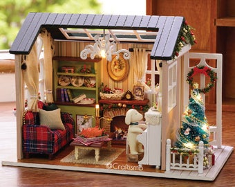 1: 24 DIY Miniature Dollhouse Kit Holiday Times Shabby Chic Christmas Cottage Cabin House with Light and Music Box Model Making Craft Supply