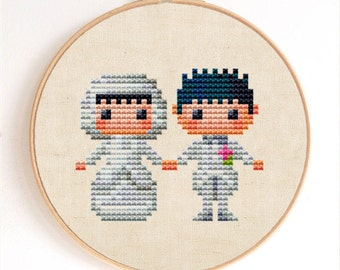Cute Little Bride and Groom Counted Cross Stitch Pattern Instant Download