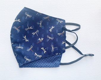 Handmade Washable Reusable Face Mask Cotton Face Covering Summer Light Weight Dragonfly Floral Pattern 100% Cotton Blue   Ship From Toronto
