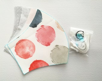 Handmade Washable Reusable Face Mask Covering Watercolor Abstract Circle White Water Repellent Pre-cut DIY Sewing Kit | Ship From Toronto