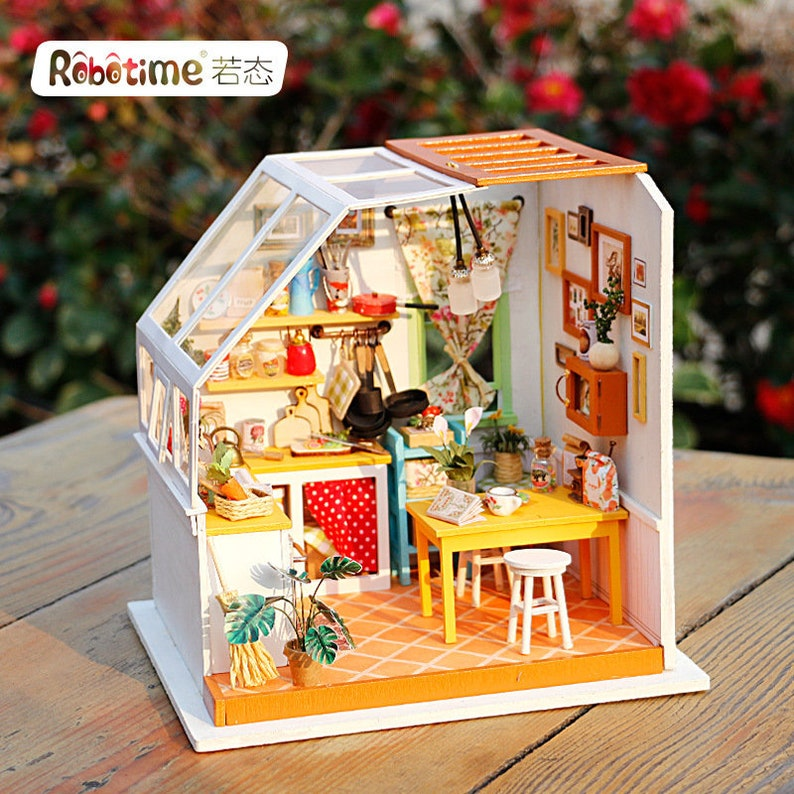 1 24 Miniature Dollhouse Diy Kit Jason S Kitchen With Light Handcraft Project Sweet Home Room Model Gift Home Decor Scene Robotime Craft Supplies Tools Kids Crafts