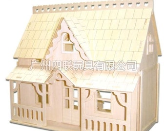 Miniature Dollhouse 3D Wooden Puzzle House Model DIY Toy House w/ Furnitures Full-length Front Porch House