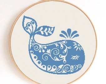 Ornament Baby Whale Silhouette Counted Cross Stitch Pattern Instant Download