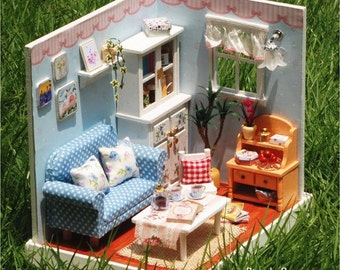 Miniature Dollhouse Room DIY Kit Home Sweet Home Series Living Rome with Light and Music Box Cute Room House Model