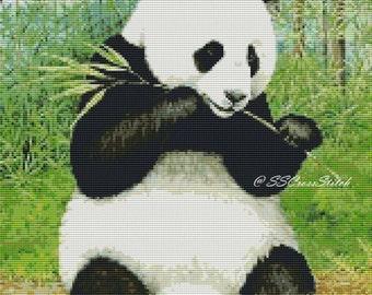A Panda Eating Bamboo Animal Counted Cross Stitch Pattern