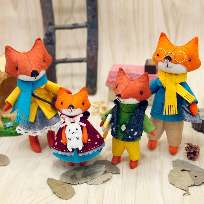 DIY Felt Craft Kit Fox Family Craft in a Box Sewing Handmade Stuff Doll  Decoration Ornament Gift for Kids Pattern Toy Stitching