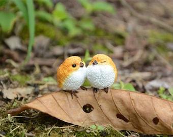 Love Birds on Fallen Leaf Fairy Garden Terrarium Accessories Miniature Woodland Accessory Decoration