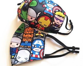 Handmade Washable Reusable Face Mask Covering Adult Kid Teen Boy Cute Cartoon Superheroes Advengers Adjustable Nose wire | Ship From Toronto