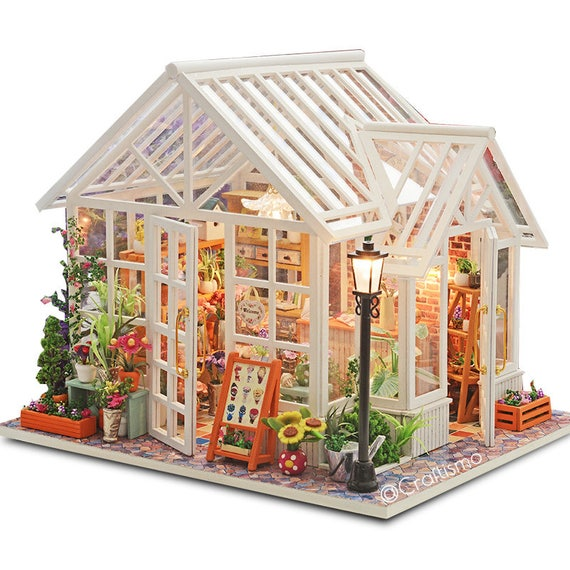 1 24 Diy Miniature Dollhouse Kit Sosa Florist White Glass Etsy