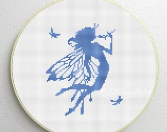 Counted Cross Stitch Pattern PDF fairy silhouette