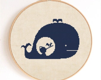 Pinocchio in the Whale Silhouette Counted Cross Stitch Pattern Instant Download
