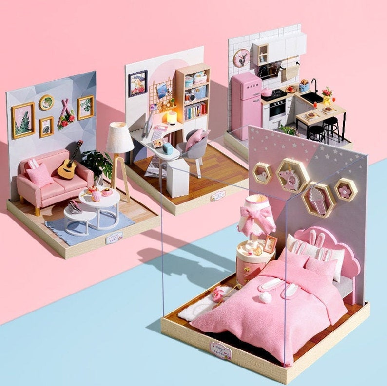 1:12 DIY Miniature Dollhouse Kit Scenery Room with Light for image 0