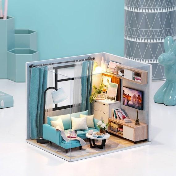BRAND NEW DIY Miniature Craft Kit Dollhouse Room Box Scenery Shops with Light