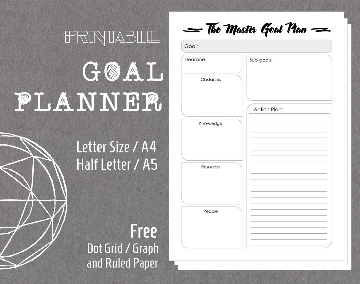 Printable Goal Planner Schedule Action List Goal Setting Filofax