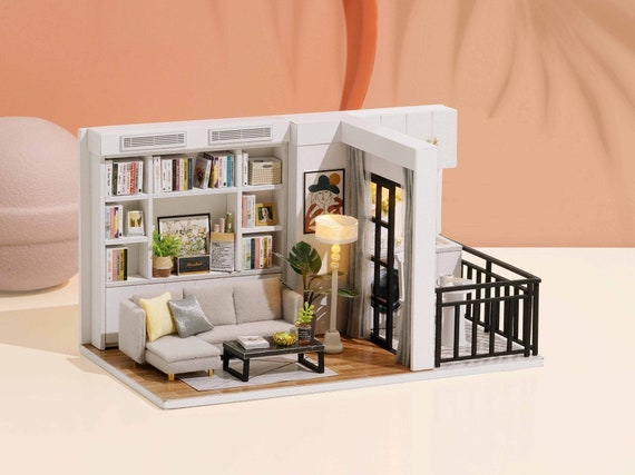 BRAND NEW DIY Miniature Craft Kit Dollhouse Room Box Scenery Shops with Light