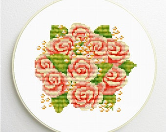 Counted Cross Stitch Pattern rose bouquet PDF instant download