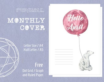 Printable Monthly Cover Page 12 Month Cover Water Color Polor Bear Filofax Kikki K Inserts Letter Size A4 Half Letter A5 Planner Refills