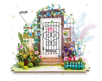 1: 24 Miniature Dollhouse DIY Kit Garden Entrance with Light Handcraft Project Model Flowers Summer Time Gift Home Decor Robotime