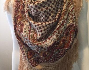 1cf60102ad88 Vintage large fringe scarf wrap classic foulard pattern boho hippie chic  gypsy traveller love!