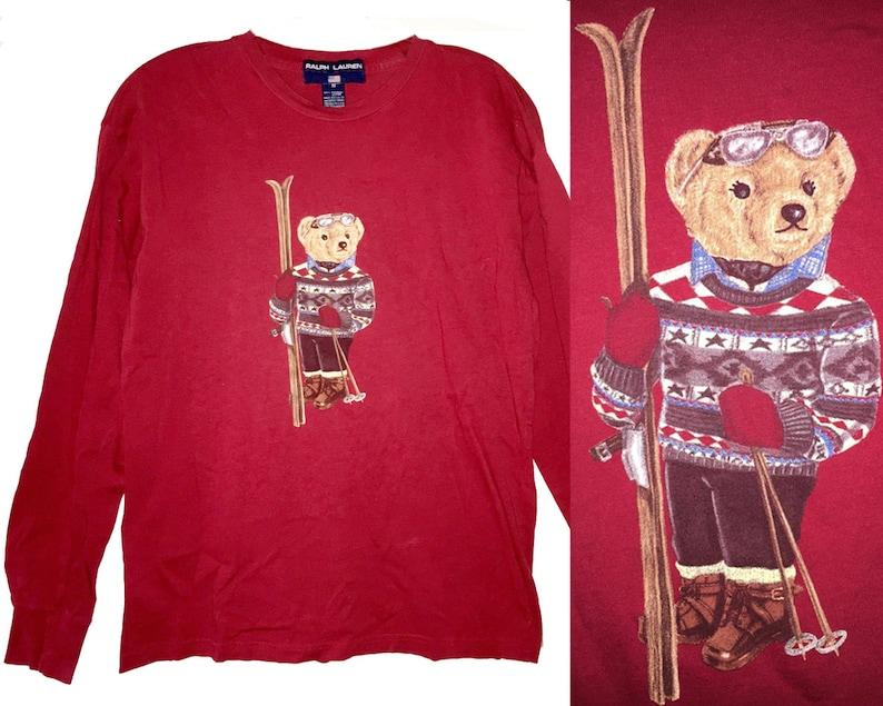 e551e9dc89111 Vintage 90s Ralph Lauren Polo Sport Teddy Bear T-Shirt Skis