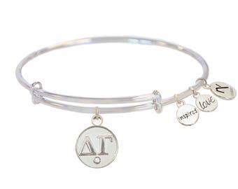 Delta Gamma Greek Letter Bangle Bracelets- Silver or Gold 5eb4e8f1a2a