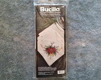 Candlewick Napkin Kit Set of 4 All Natural Color Stamped Embroidery Bernat 1983 NIP 17 x 17