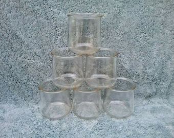 6 Oui Jars Yogurt Jars 5 ounce Clear Glass Jars Glass Candle Jars Storage Jars Crafting Organization DIY Gift Container