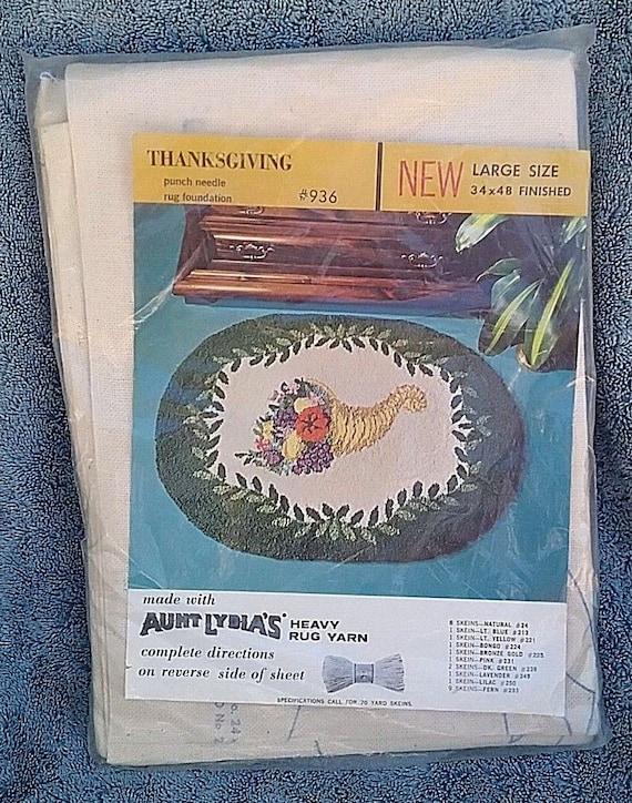 Aunt Lydia/'s Thanksgiving Punch Needle Rug Foundation 936 34 x 48 Large Cornucopia