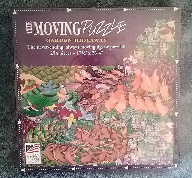 Vintage Great American Puzzle Factory Puzzle The Moving Puzzle Garden  Hideaway 294 Pieces New and Sealed 1994