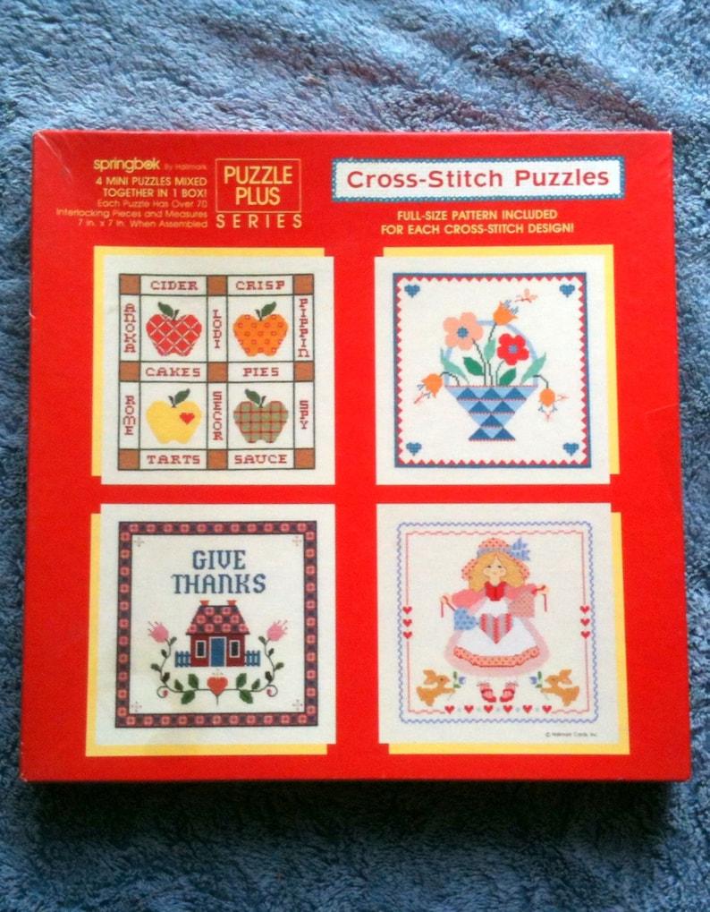 Vintage Springbok, Puzzle Cross Stitch Puzzles, Puzzle Plus Series, 4 Mini  Puzzles, Hallmark, 1988, Original Inserts, Full Size Pattern H6