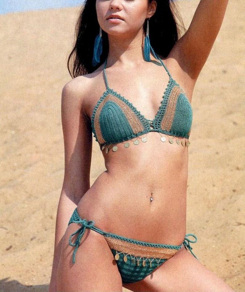 90718867bf3 Teal Turquoise   Golden cream crochet lace bikini Sexy Boho