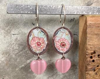 antiqued copper bohemian jewelry punk and brown copper dangle earrings heart earrings Long pink boho earrings