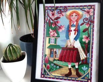 Counted stitch pattern - Anne of Green Gables- Anne Shirley portrait - Lucy Maud Montgomery - PDF Instant download