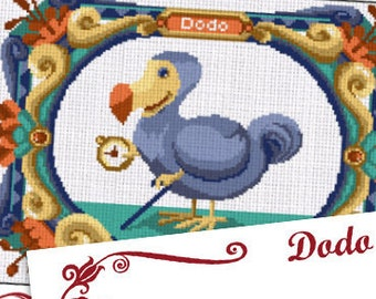 COUNTED STITCH pattern -Dodo - Alice in wonderland - Lewis Carroll  -PDF Instant download