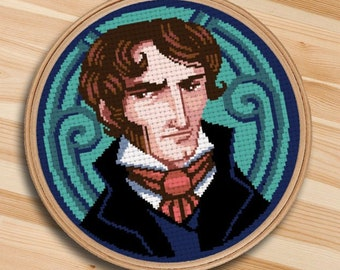 COUNTED STITCH pattern - Mr Rochester - Jane Eyre - Charlotte Bronte -PDF Instant download