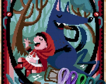 Red Riding Hood and the Wolf - Charles Perrault -printable pattern and tablet version included - suitable for cross stitch