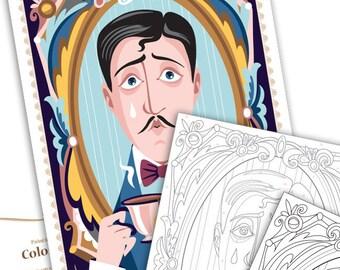 Paint by numbers - Marcel Proust portrait -Instant download, illustration paint kit - Art Printable Pattern