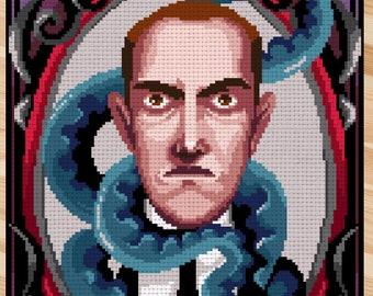 Counted stitch pattern -H.P. Lovecraft  portrait - PDF Instant download